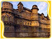 View of highly decorated Gwalior Fort in the Madhya Pradesh region.